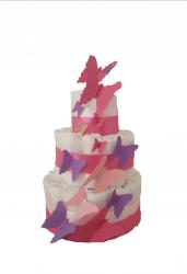 DIAPER CAKE POUR FILLE «ENVOLEE DE PAPILLONS»