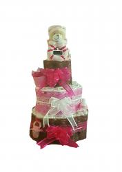 DIAPER CAKE POUR FILLE»AMOUR DE BEBE»