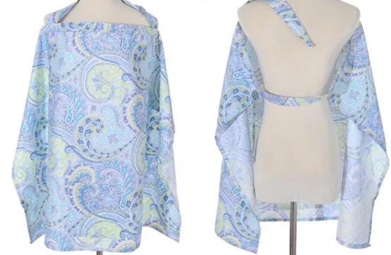 Couverture d'allaitement pour maman fleuri bleu