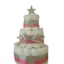 Gâteau de Couche Thème «Silver star» pour fille