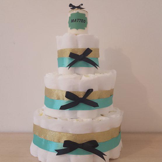Gâteau de Couche pour garçon vert rétro-doré