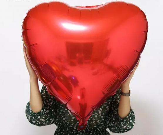 Box ballon coeur rouge + message