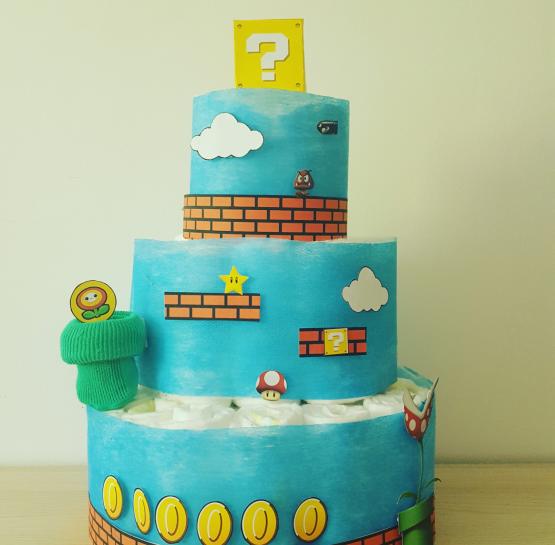 Gâteau de Couche pour garçon «Super mario bros»