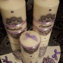 Ensemble bougies pour fiancailles/mariage violette