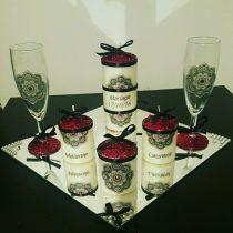 Ensemble bougies pour fiancailles/mariage (rosy)