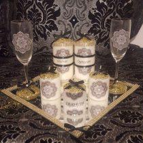 Ensemble bougies pour fiancailles/mariage.doré et noir