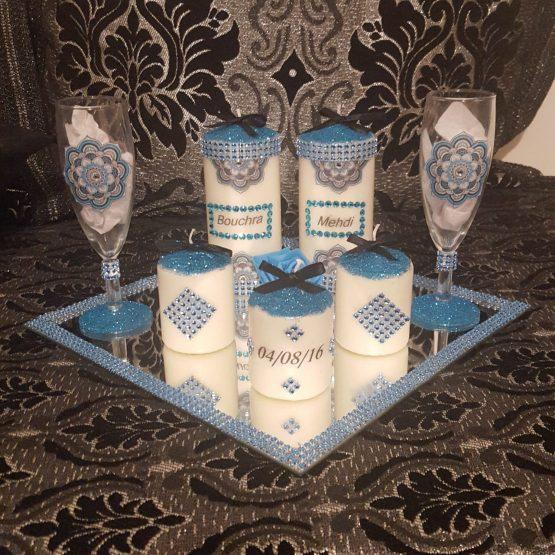 Ensemble bougies pour fiancailles/mariage.bleu strass