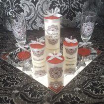 Ensemble bougies pour fiancailles/mariage (rouge)