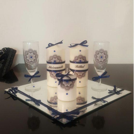 Ensemble bougies pour fiancailles/mariage.bleu marine