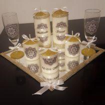 Ensemble bougies pour fiancailles/mariage.doré et blanc
