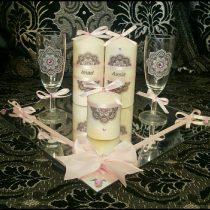 Ensemble bougies pour fiancailles/mariage (rose clair)
