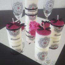 Ensemble bougies pour fiancailles/mariage.fushia