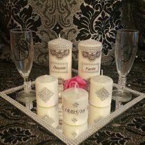 Ensemble bougies pour fiancailles/mariage (strass)