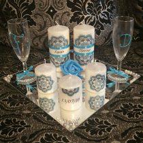 Ensemble bougies pour fiancailles/mariage (bleu)